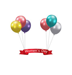 Women s day multicolored balloons and a ribbon vector