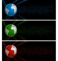 World globe banners vector image