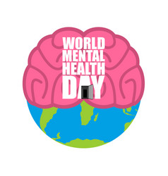 world mental health day brain and earth vector image