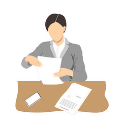 young business woman reading documents and sitting vector image