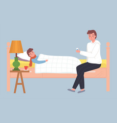 Young father caring for a sick son a sick boy vector