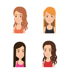 young people avatars group vector image