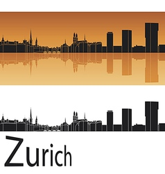 Zurich skyline in orange background vector