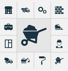 building icons set collection of truck cement vector image