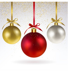 christmas balls and confetti of gold sparkles vector image vector image