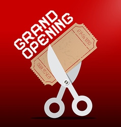 Grand Opening Scissors Cutting Ticket on Red vector image