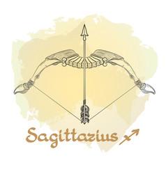 Hand drawn line art of decorative zodiac sign vector