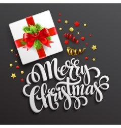 Merry Christmas greeting card Gift box vector image