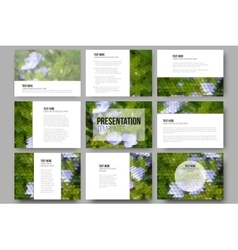 Set of 9 templates for presentation slides Blue vector image vector image