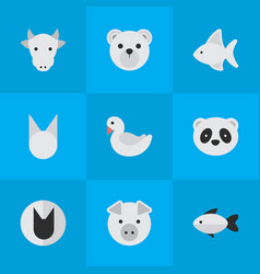 set of simple zoo icons vector image vector image