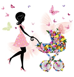 young mother with a stroller vector image