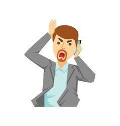 Angry Office Worker Shouting At Smartphone Part vector image