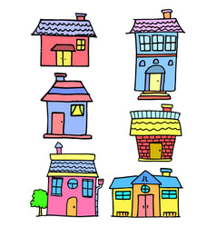 Doodle of house set style cartoon vector