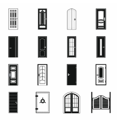 Doors icons set simple style vector image vector image