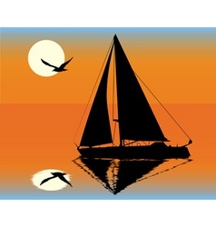 silhouette of a yacht on the background of the set vector image vector image