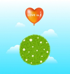 grass ball with red balloon vector image