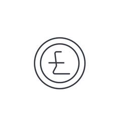 pound sterling coin currency thin line icon vector image