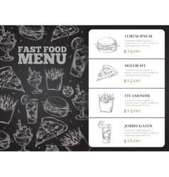 Restaurant brochure menu design with hand vector image vector image