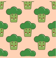 seamless pattern with cute cartoon broccoli vector image