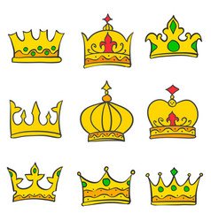 collection gold crown doodle set vector image