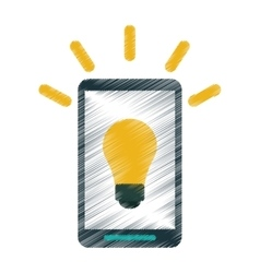 Drawing smartphone bulb idea imagination vector