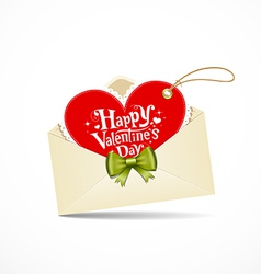 Envelope red heart and green ribbon valentine day vector image vector image