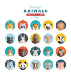 Flat Style Animals Avatar Set Twenty Icons vector image vector image