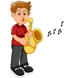 funny boy cartoon playing trumpet vector image vector image