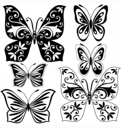 set black and white butterflies vector image vector image