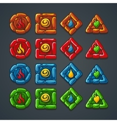 Set of colored stone buttons for a computer game vector image