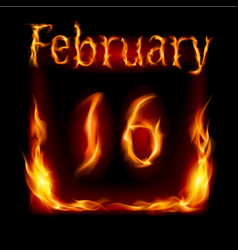 sixteenth february in calendar of fire icon on vector image vector image