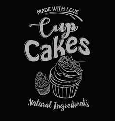 vintage cakes with cream poster design on chalk vector image