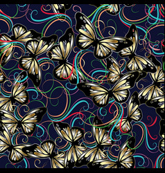 3d flowers and butterflies seaamless pattern vector image