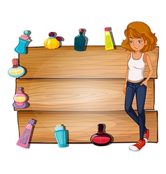 A girl and the different perfumes surrounding the vector image