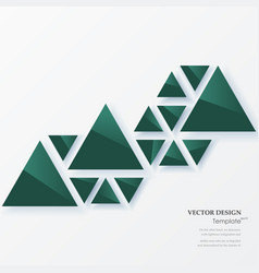 Abstract geometric background with green triangles vector