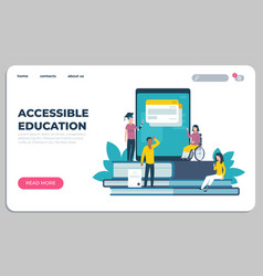 Accessible education landing page online learning vector