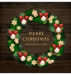 Aromatic Decorated Christmas Wreath on Wooden Door vector image