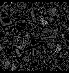 black seamless background with silhouettes vector image