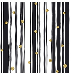 Black stripes seamless pattern and golden dots vector image