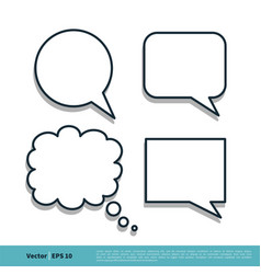 blank speech bubble set icon logo template design vector image