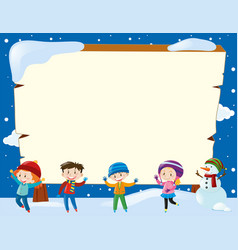 Border template with four children and snowman vector