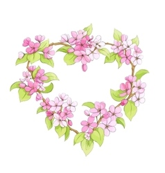 Bright floral heart vector image