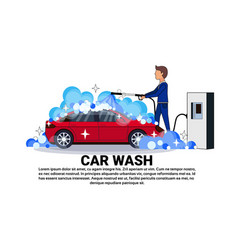 car wash service worker cleaning vehicle over copy vector image