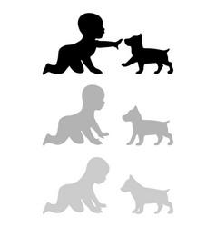 Child petting a puppy labrador black flat vector