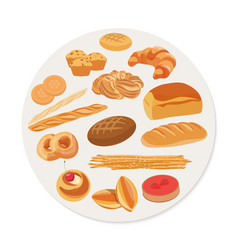 Circle shape with various pastries and bakery vector