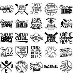 Collection baseball phrases slogans or quotes vector