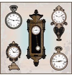 Collection of retro clocks vector