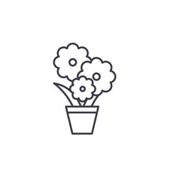cute flower pot line icon concept cute flower pot vector image