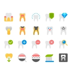 Dental flat icons set vector image