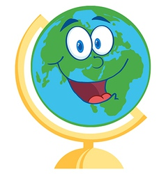 Desk Globe Cartoon Mascot Character vector image